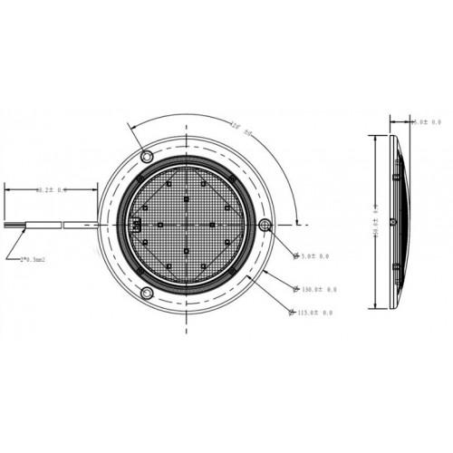 Plafonnier 12 Leds avec détecteur de mouvement - A poser - 12/24 Volts - ø 130 x Ep 15 mm - IP67