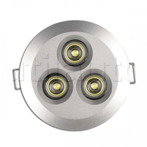 Plafonnier 3 Leds - A encastrer - 9/33 Volts - ø 82 mm 9/33V ROND 3 LED