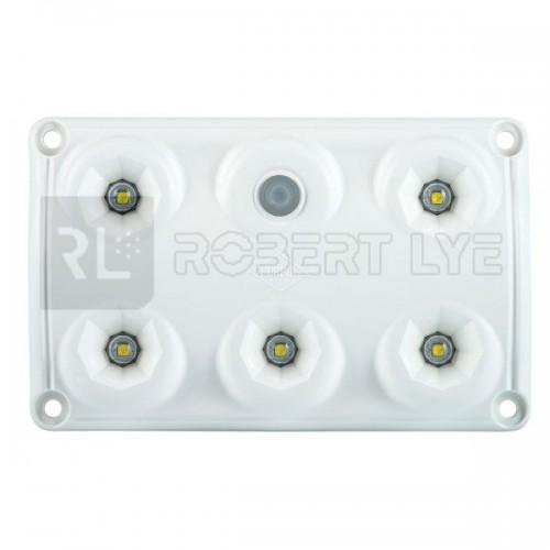 Plafonnier 5 Leds avec interrupteur - A poser - 12/24 Volts - L 120 x l 75 x Ep 16 mm - IP65