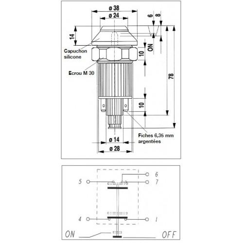 Interrupteur / Contacteur à bouton poussoir - Haute performance ESSUIE-GLACE 12V