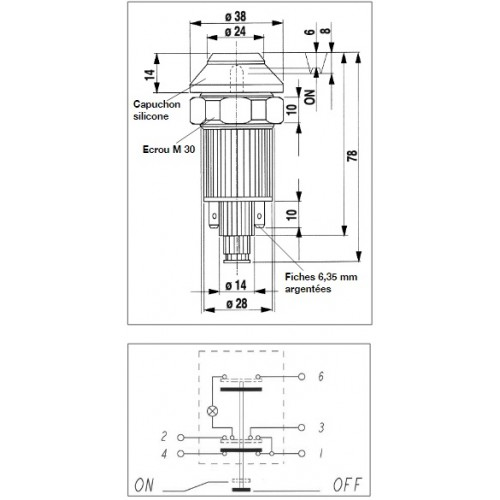 Interrupteur / Contacteur à bouton poussoir - Haute performance CODE-PHARE 12V