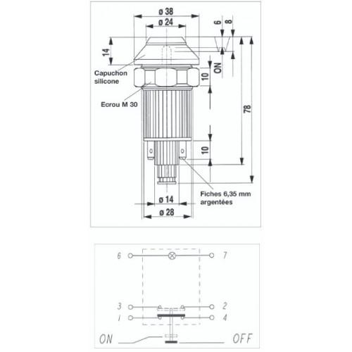 Interrupteur / Contacteur à bouton poussoir - Haute performance COUP/PUISS. 12V.