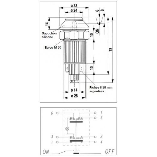 Interrupteur / Contacteur à bouton poussoir - Haute performance STOP 12V