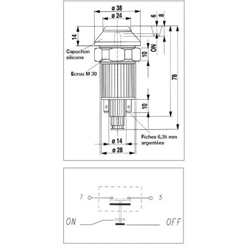 Interrupteur / Contacteur à bouton poussoir - Haute performance CHANG. VITESS. 12/24V.