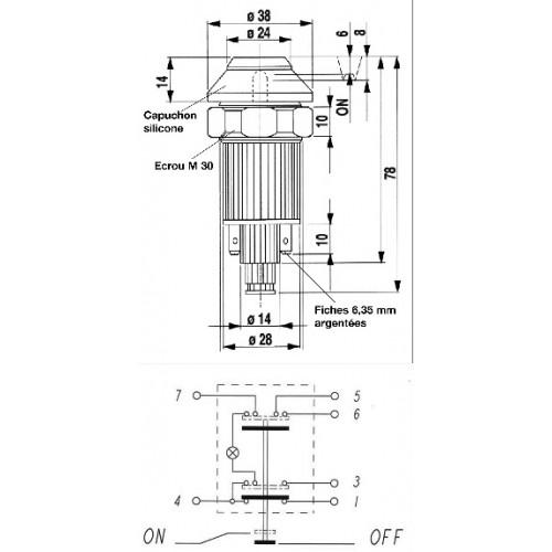 Interrupteur / Contacteur à bouton poussoir - Haute performance WARNING 12V