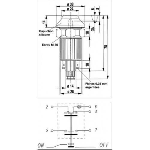 Interrupteur / Contacteur à bouton poussoir - Haute performance VERT 24V.