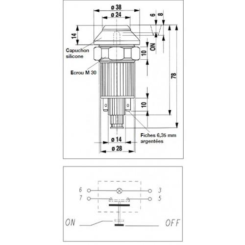 Interrupteur / Contacteur à bouton poussoir - Haute performance GYROPHARE 24V