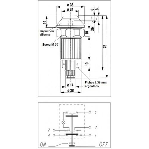 Interrupteur / Contacteur à bouton poussoir - Haute performance CODE-PHARE 24V