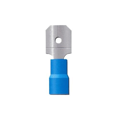 COSSE PRE ISOLEE BLEUE CLIPS MALE 6.3MM-CABLE 2.5MM2-VENDU PAR 100