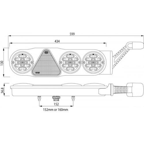 Feu arrière combiné à Leds avec corne à Leds - 10/30 Volts - L 434 (599 avec corne) x l 130 x Ep 57 mm