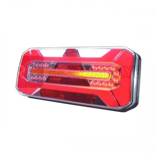 Feu arrière pour remorque avec clignotant défilant à Leds - 12/24 Volts - L 306 x l 133 x Ep 61 mm - IP68