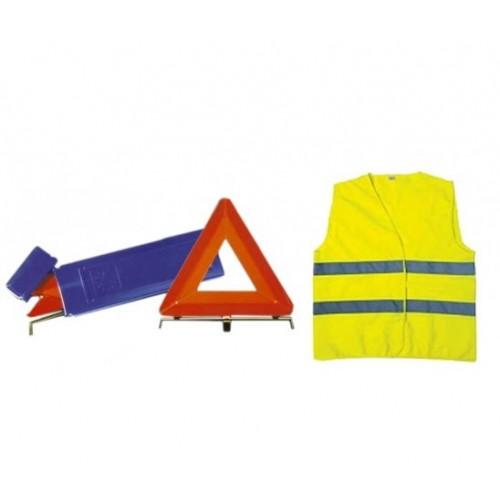 KIT DE SECURITE -1 TRIANGLE RIGIDE +1 GILET J/FLUO EN471 CL2 - EN BOITE