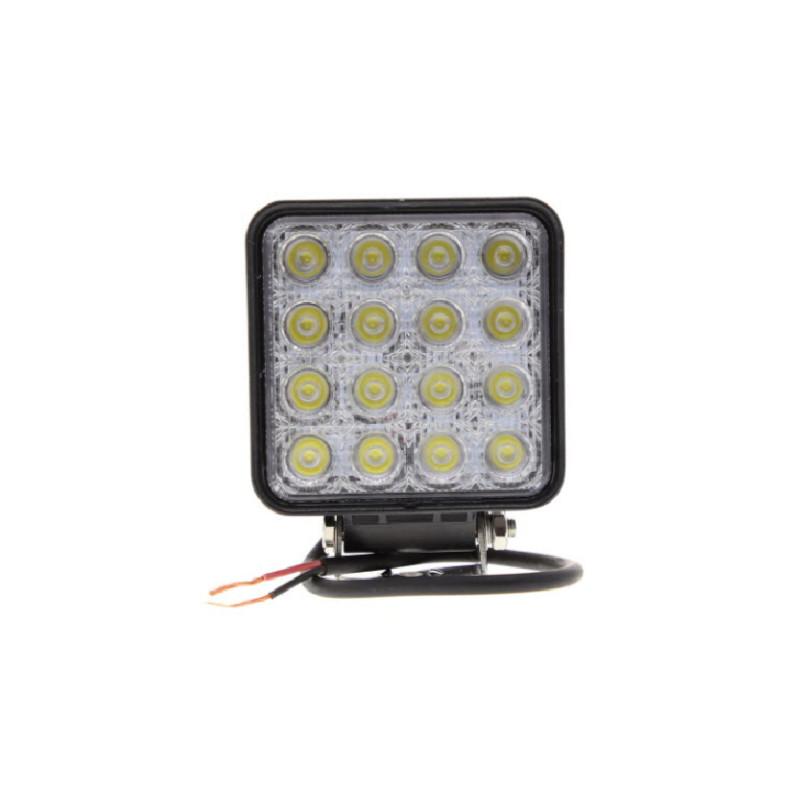 Phare de travail carré 16 Leds - 4000 Lumens - 10/30 volts - L 110 x H 164 x Ep 72mm - IP67