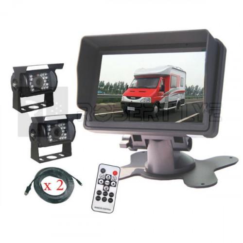 Kit de rétrovision écran LCD 5 pouces avec 2 caméras