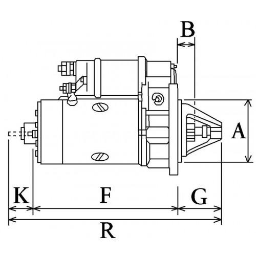 Démarreur 12 Volts, Bosch 0001354074, Delco 19024283, Case A186180, Lucas LRS01486