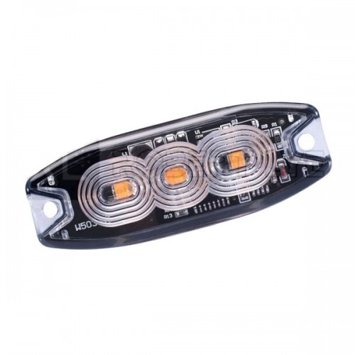 Feu de pénétration orange extra plat 3 Leds 12/24 Volts
