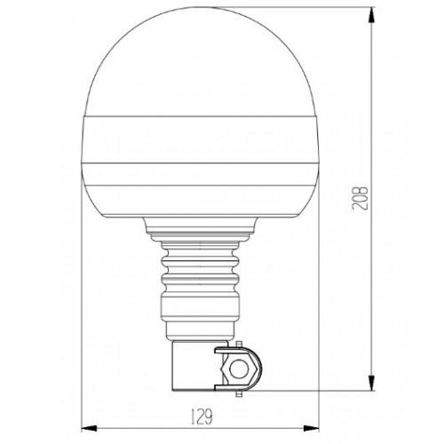 Gyrophare Leds rotatif Hampe longue - 12/24 Volts