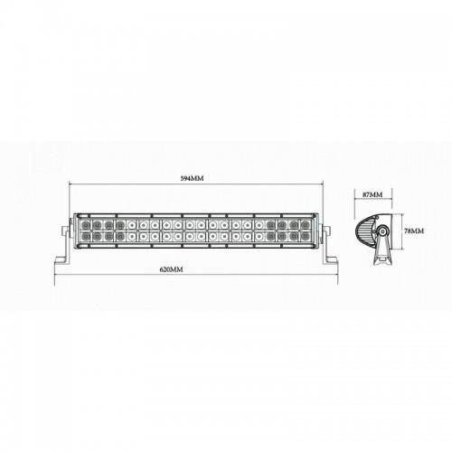 Rampe Longue portée 40 LEDS 630MM 8800 LUMENS 120W