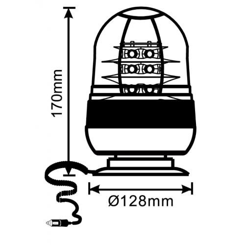 Gyrophare Flash Magnétique 18 LEDS 12/24 Volts