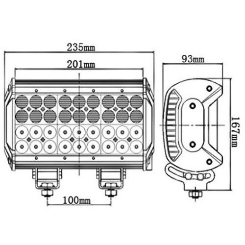 Phare de travail longue portée combo LEDS Quad 7560 Lumens