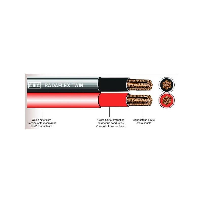 Câbles 50MM2 batterie double jumelés Rouge et Noir