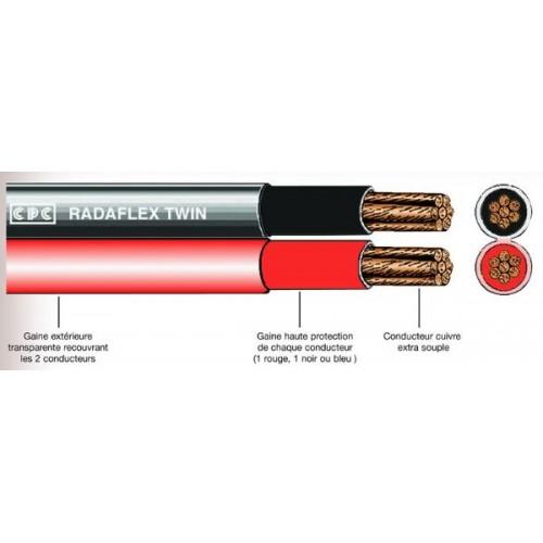 Câbles 10MM2 batterie double jumelés Rouge et Noir