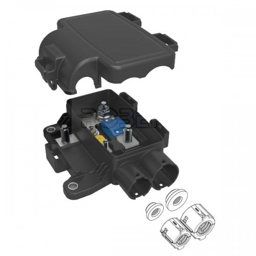 Boîtier de protection électrique + distribution pour 1 fusible MIDI + 1 fusible MEGA