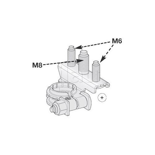 Cosses de batterie Positive 3 connexions : 1 tige M8 + 2 tiges M6