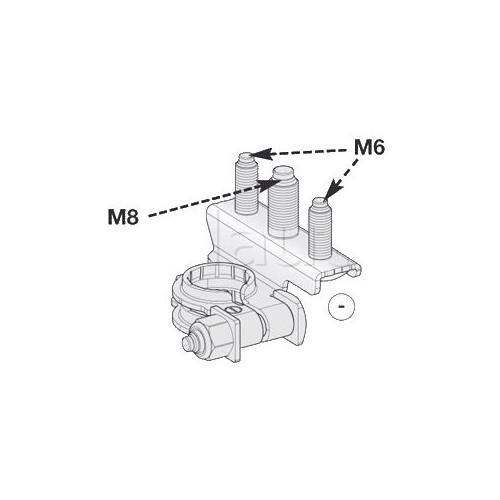 Cosses de batterie Négative 3 connexions : 1 tige M8 + 2 tiges M6