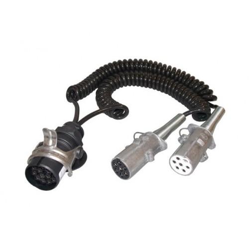 Cordons adaptateurs pour tracteurs et semi-remorques équipés de socles 15 et 7 pôles - 24 Volts