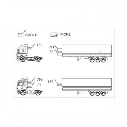 Cordons adaptateurs pour tracteurs et semi-remorques equipés de socles 15 et 7 pôles - 24 Volts